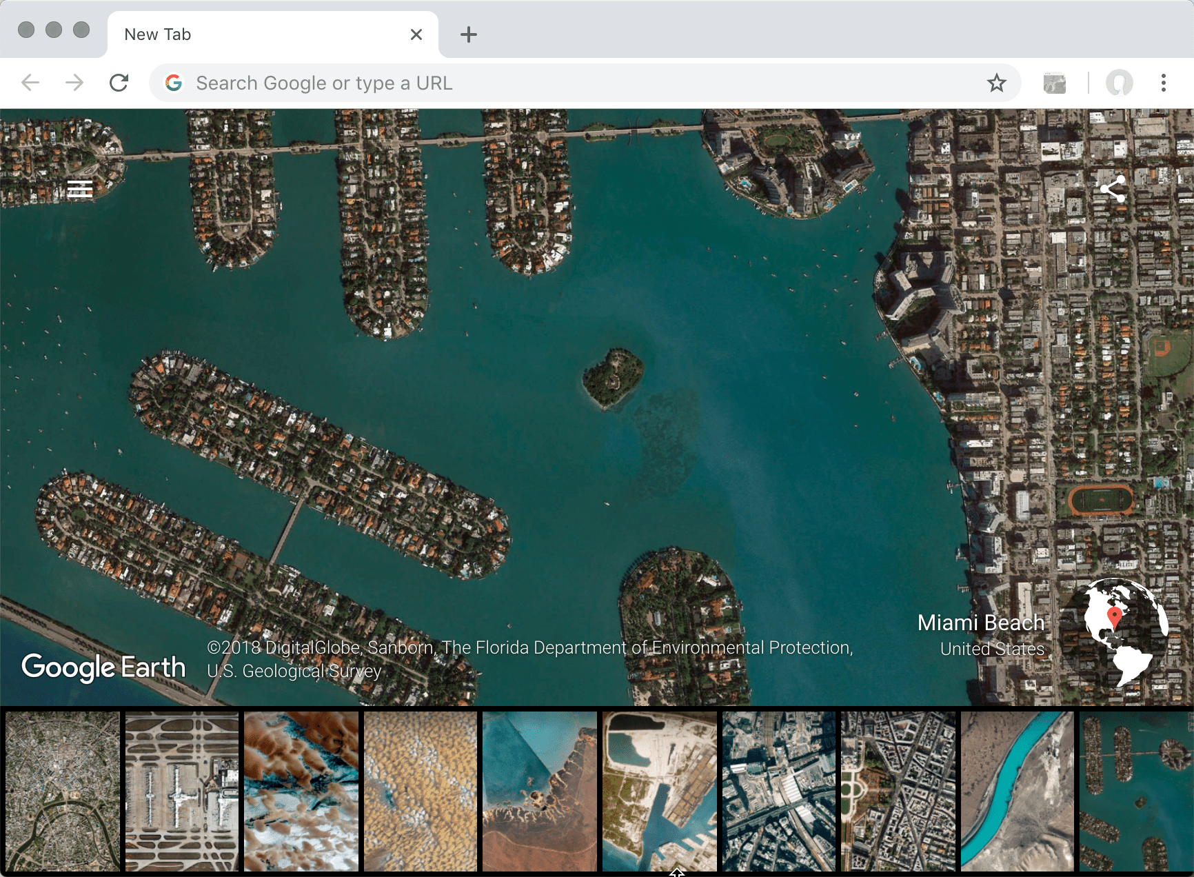 Screenshot of Chrome browser showing Earth View extension