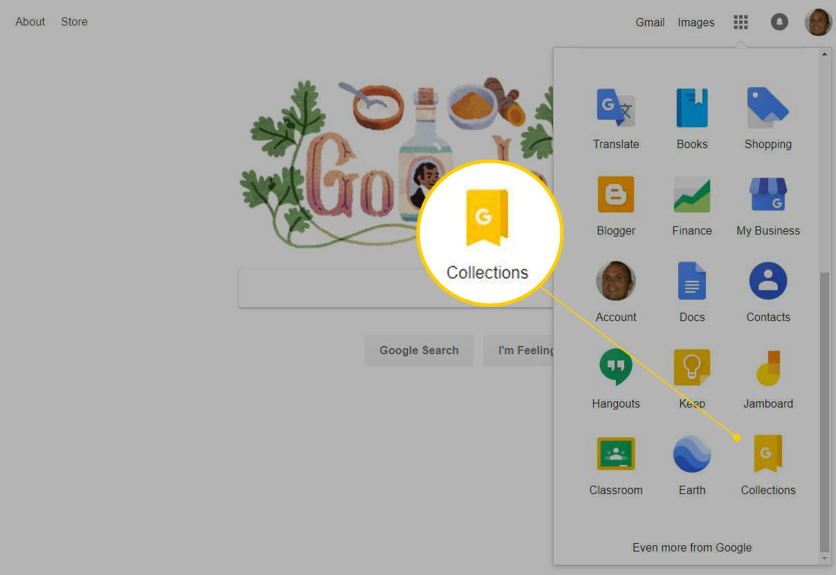 Collections icon in Google apps