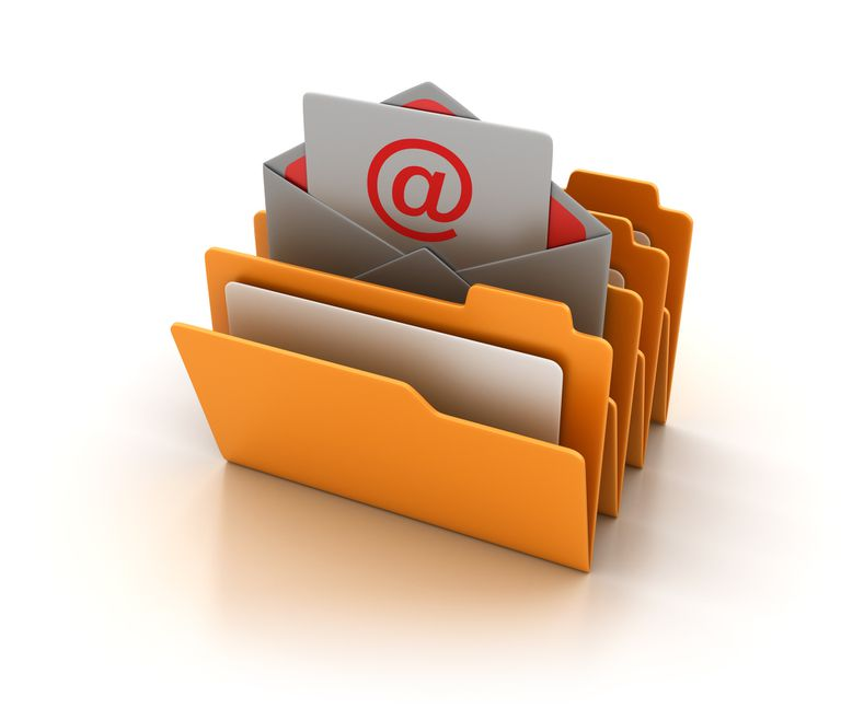 Computer Folders with Email Envelope - 3D Rendering
