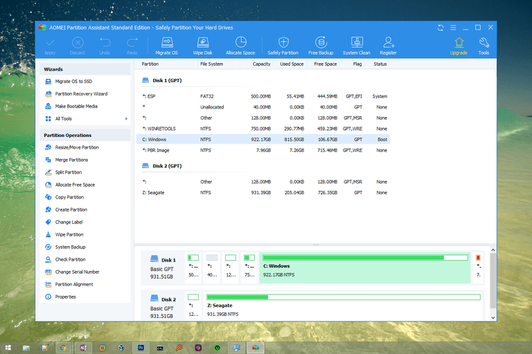 Screenshot of AOMEI Partition Assistant Standard Edition v8.0 in Windows 10