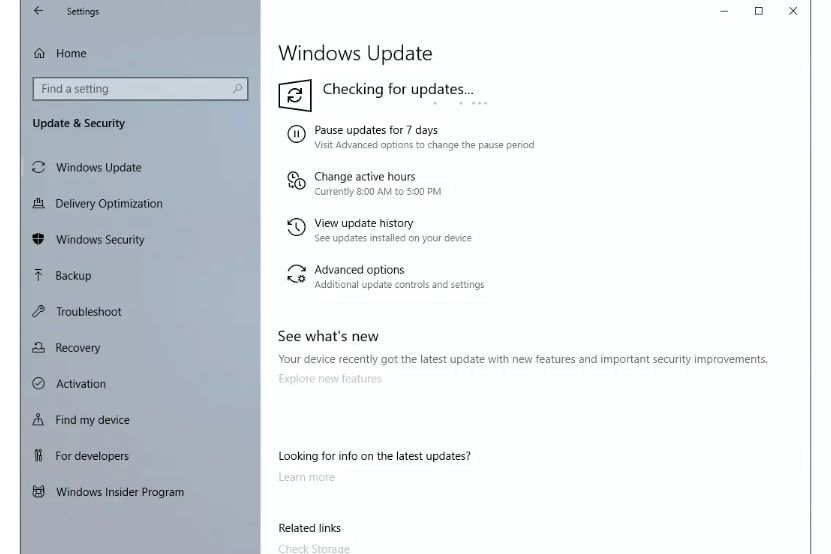 Check for Windows updates in the Windows settings.