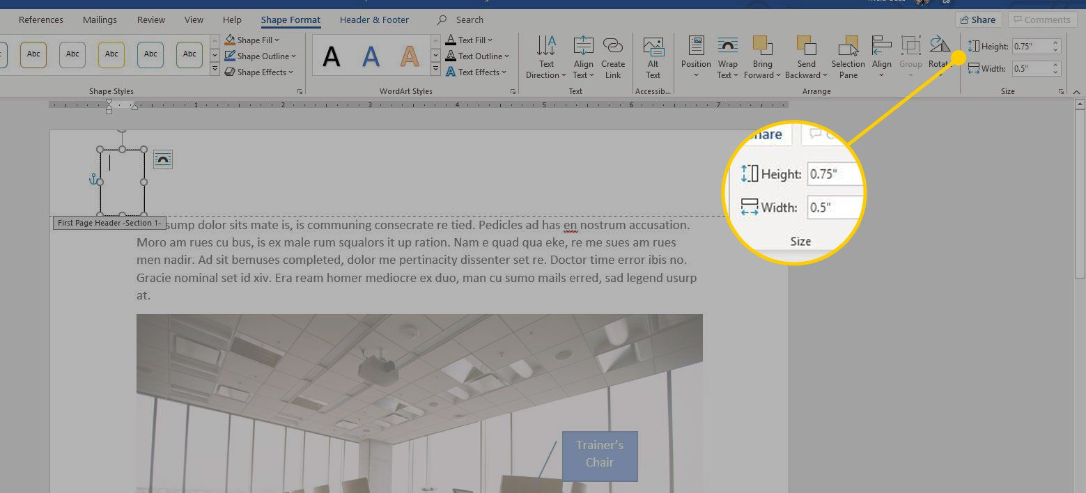 Height section in Word's Shape Format menu