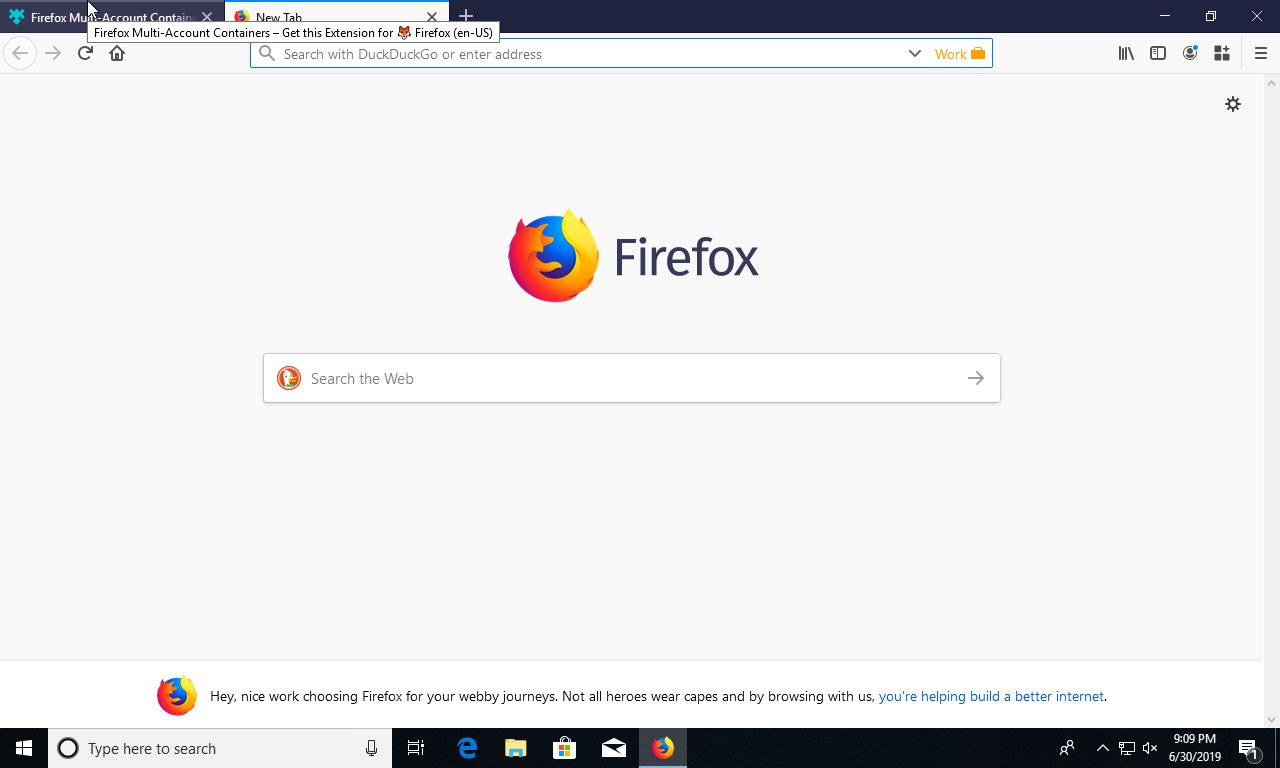 Firefox new container tab open
