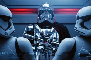 A 3D image of stormtroopers from Star Wars standing in an elevator
