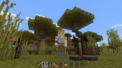 A player holds a potion of healing in Minecraft.