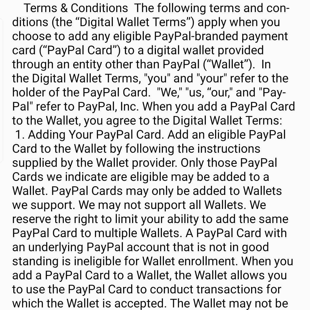 Terms and service agreement when adding new card to Samsung Pay
