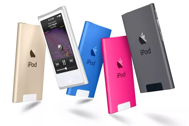 Five iPod nanos in different colors