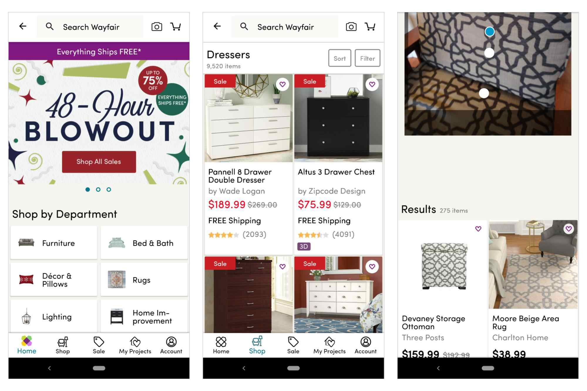 3 screenshots: Wayfair home screen, featuring sales; Dresser category example; visual search showing similar items