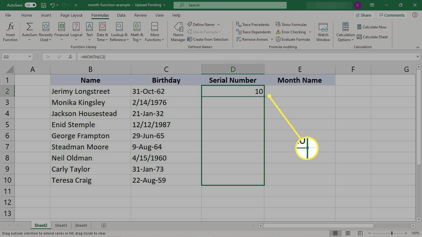 Copying the MONTH function to a column of cells in Excel
