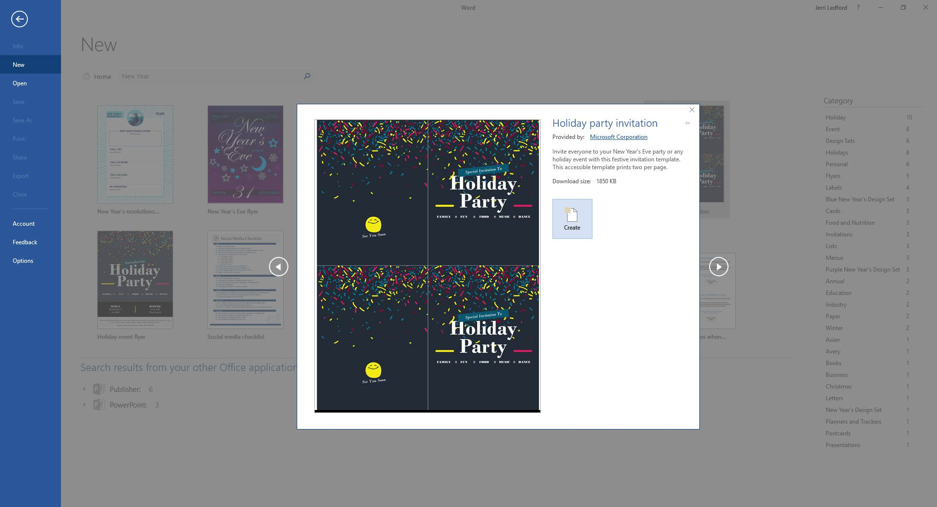 A screenshot of the Microsoft Word New Year's Eve Holiday Party Invitation template.