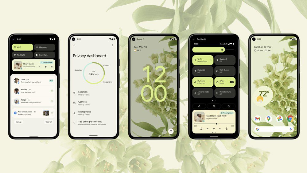 Android 12 preview on five phones