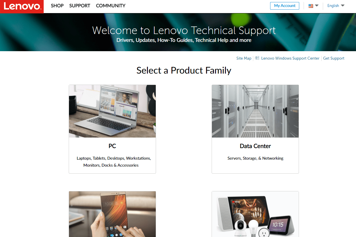 Lenovo Technical Support page