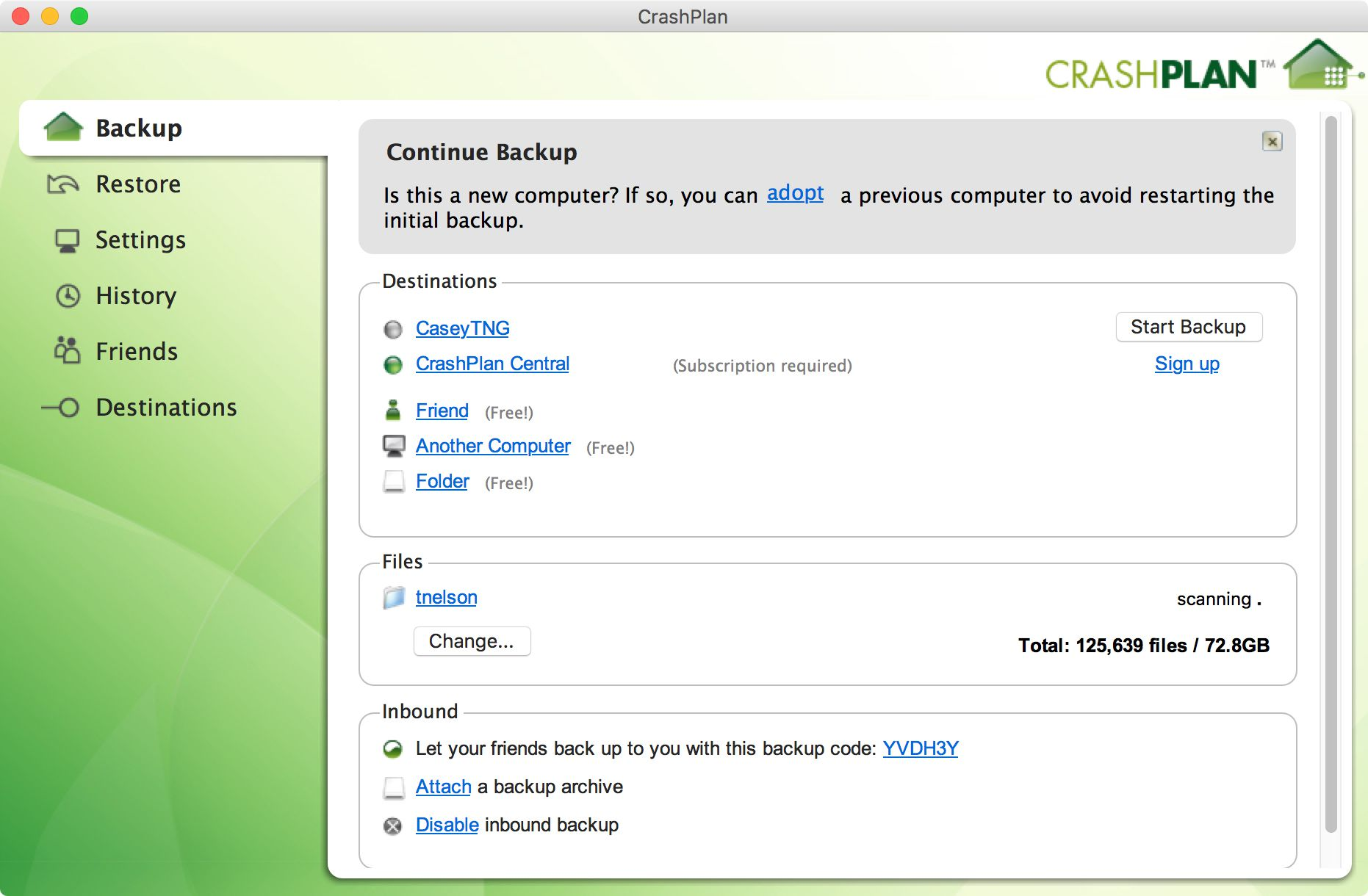 CrashPlan backup app