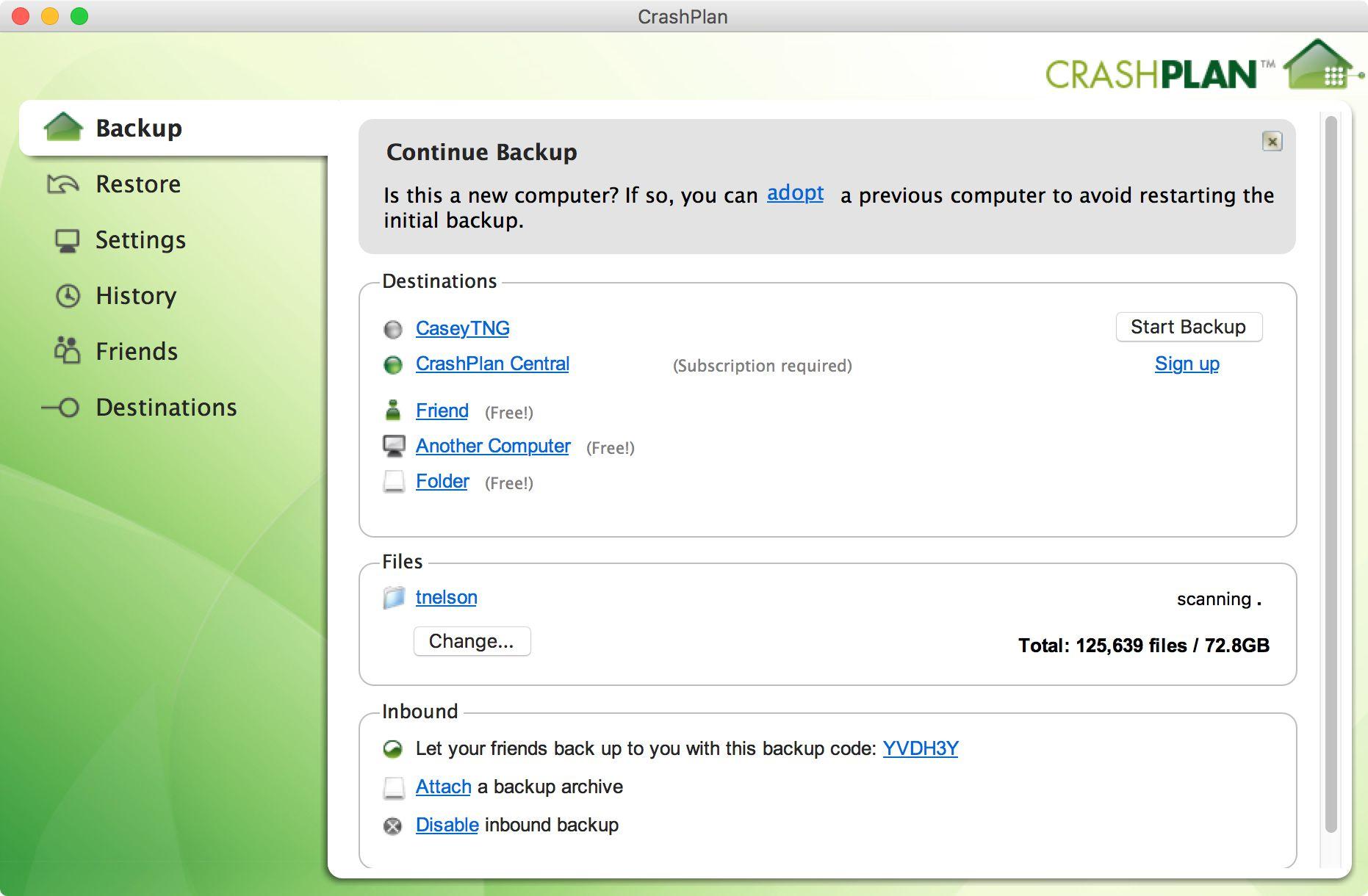 CrashPlan backup app home screen