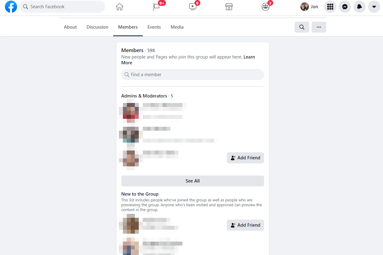 Facebook group and people search