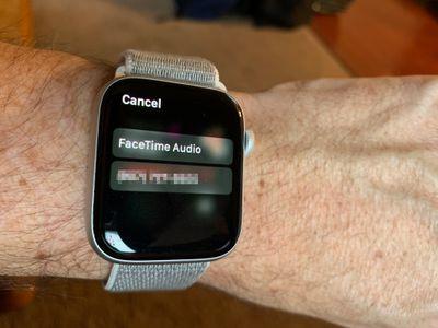 FaceTime Audio option on Apple Watch