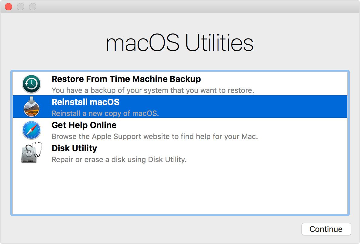 The macOS Recovery Utilities with Reinstall macOS selected