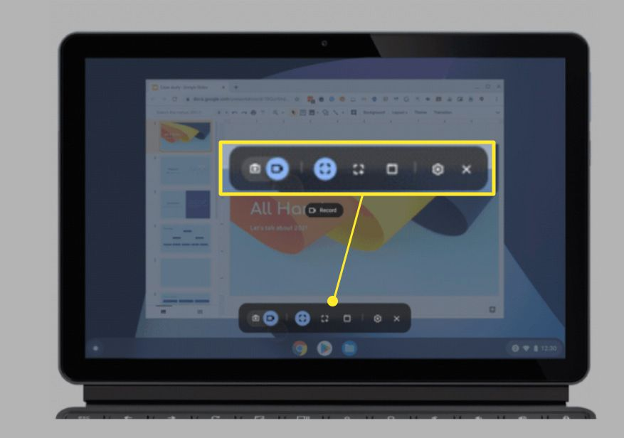 Chromebook screen with Screen Capture toolbar highlighted