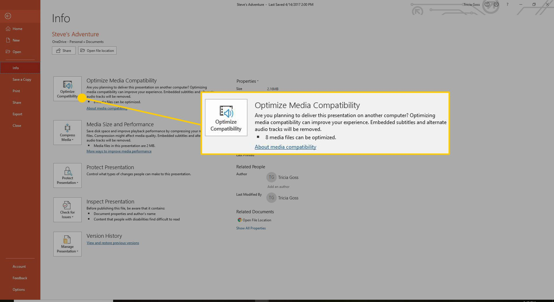 Optimize Media Compatibility PowerPoint