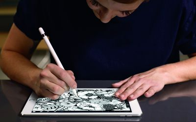 Woman using iPad pro