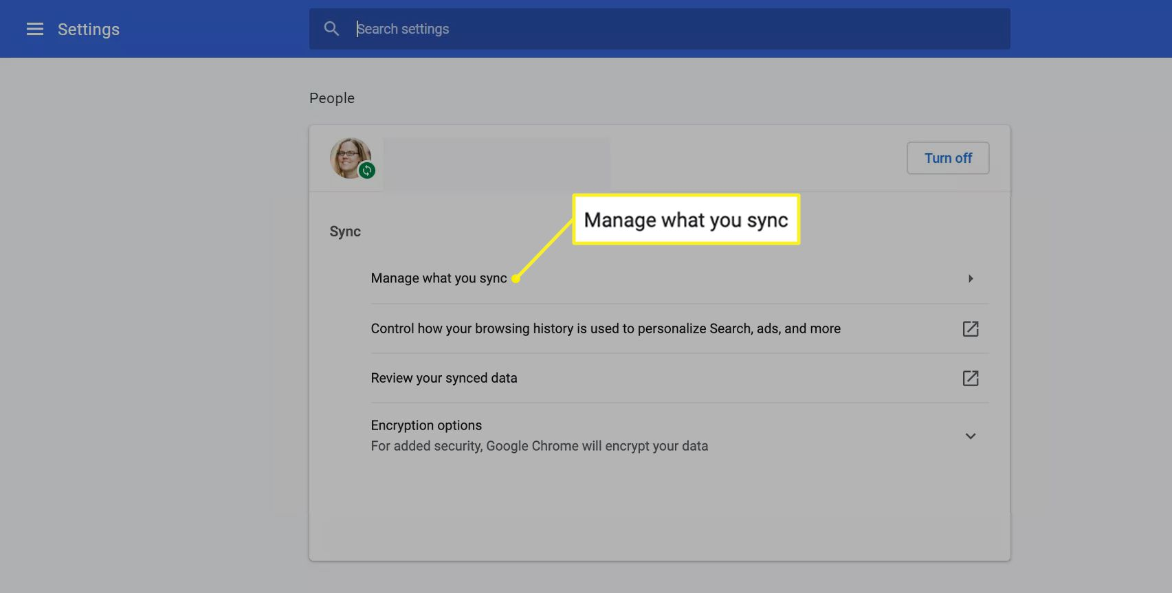 Sync settings with Manage what you sync highlighted