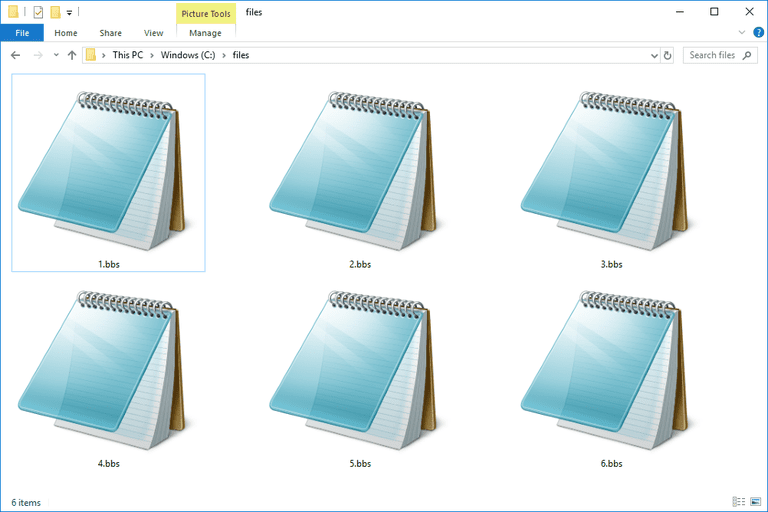 Screenshot of several BBS files in Windows 10 that open with Notepad