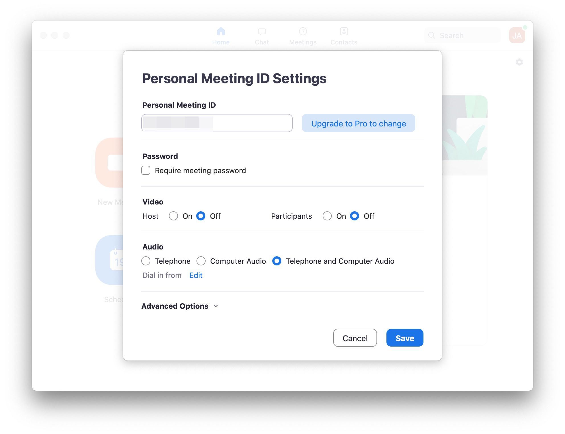 Zoom app with Passworded meeting displayed