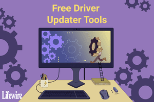 An illustration indicating driver update tools on a computer screen.