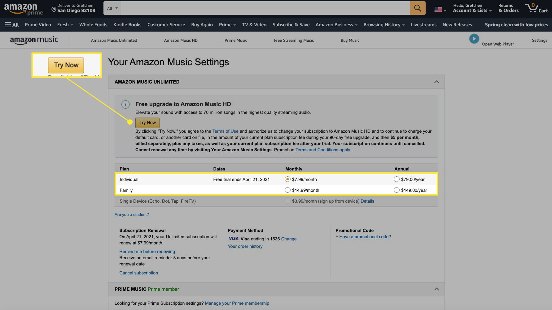 Amazon Music settings with plans and