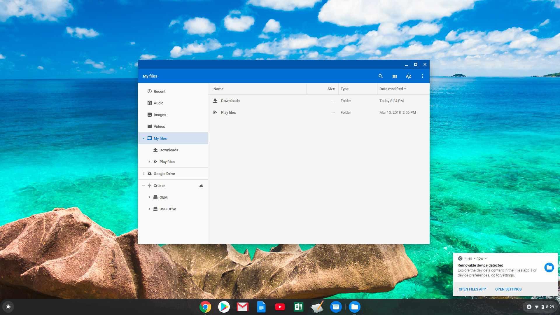 Screenshot of USB thumb drive connected to Chromebook