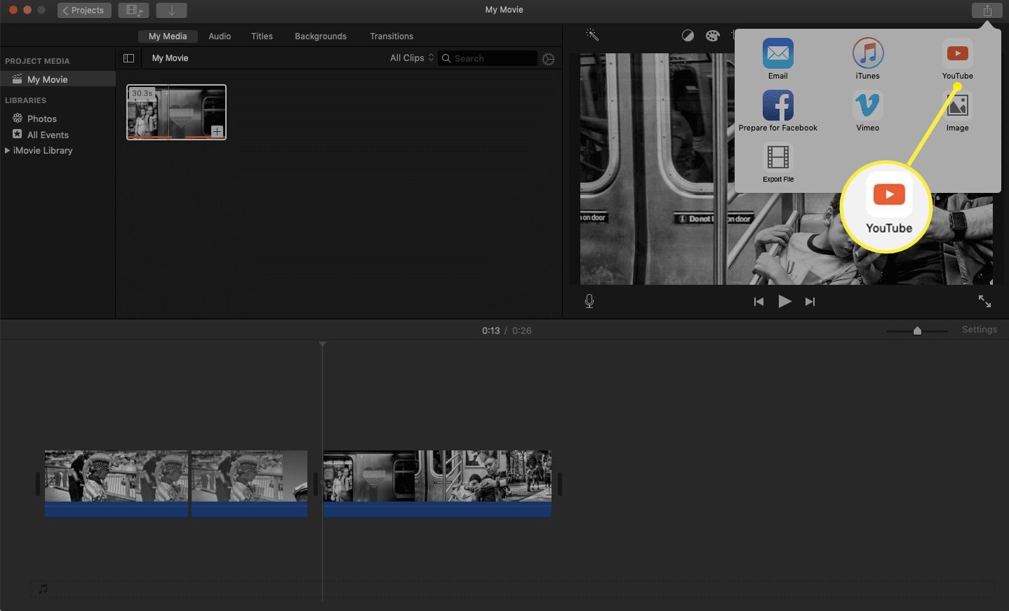 iMovie share tab with the You Tube icon highlighted.