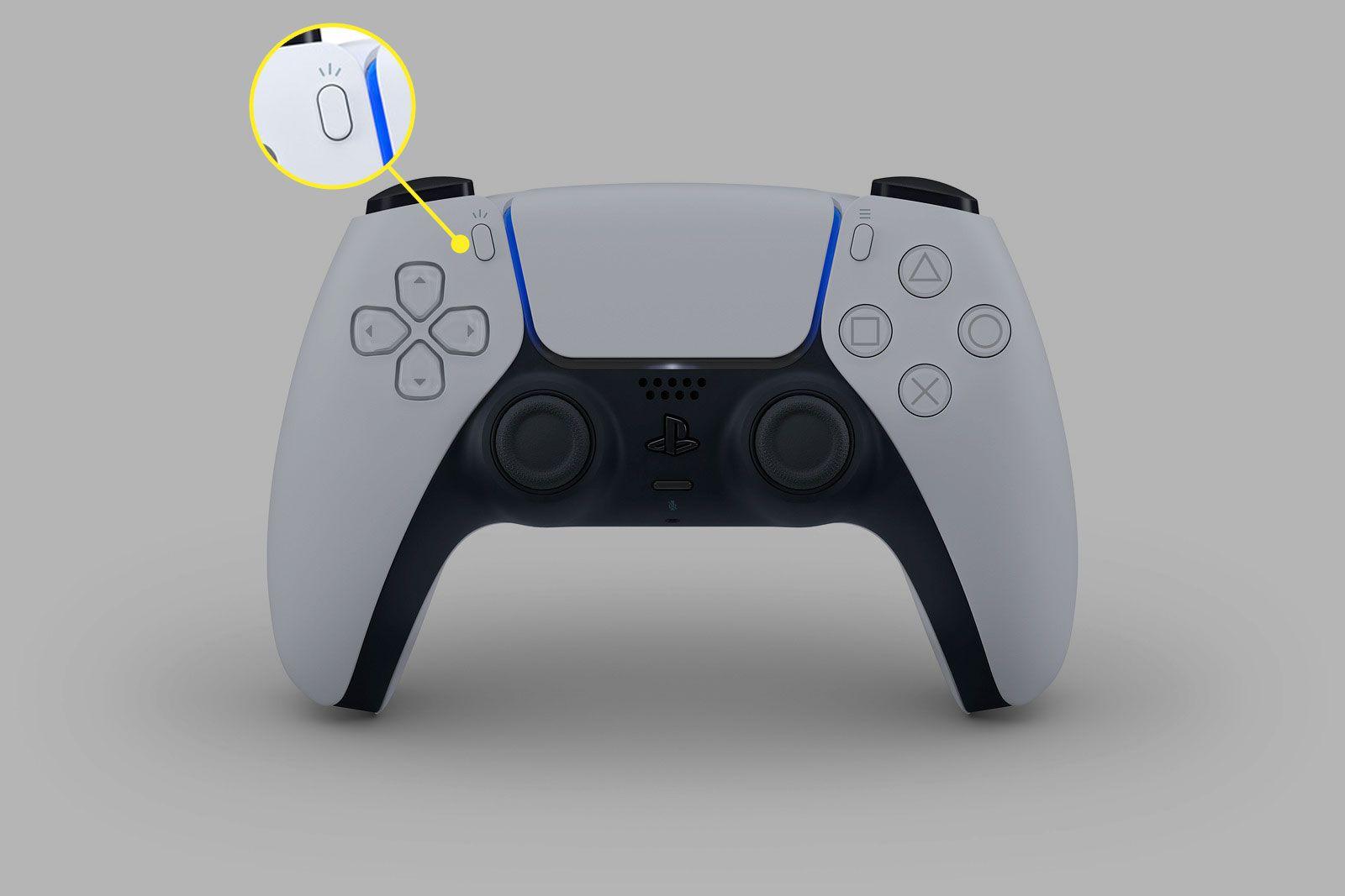 The Create button on a DualSense controller for PS5