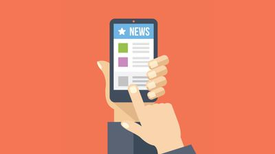 An image graphic of a man reading the news on a smartphone.