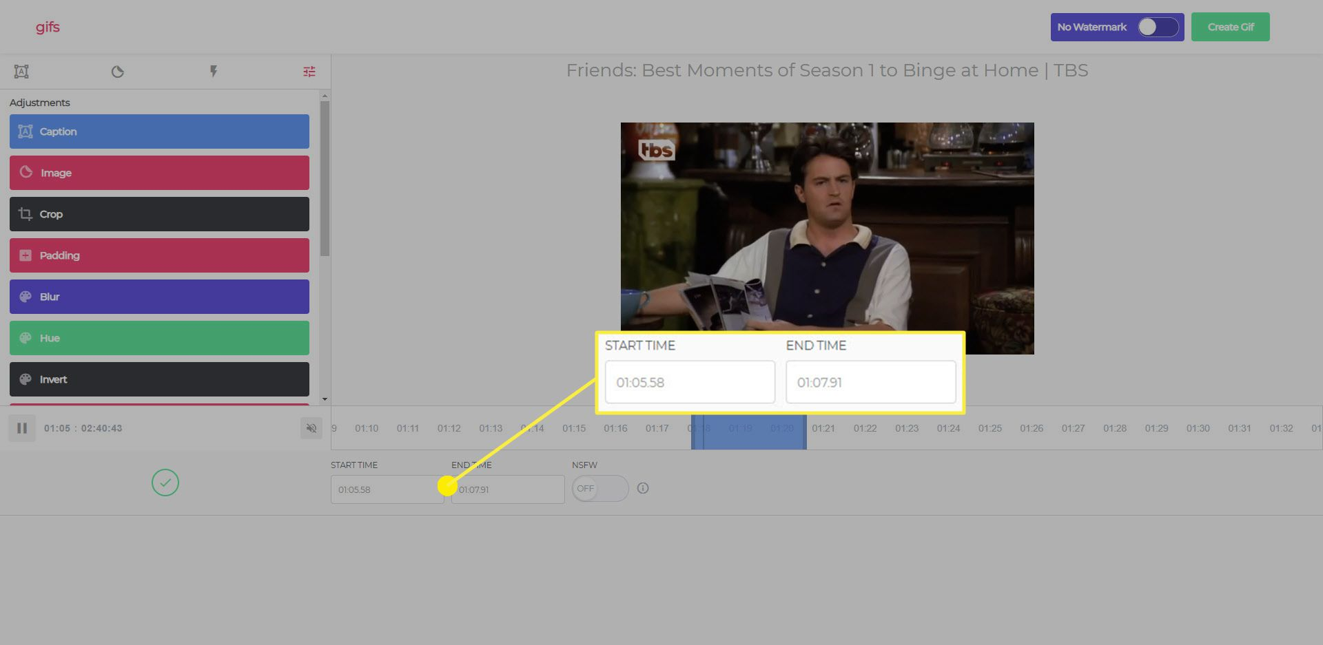 The start and end time boxes used to determine the length of a GIF on gify.com.