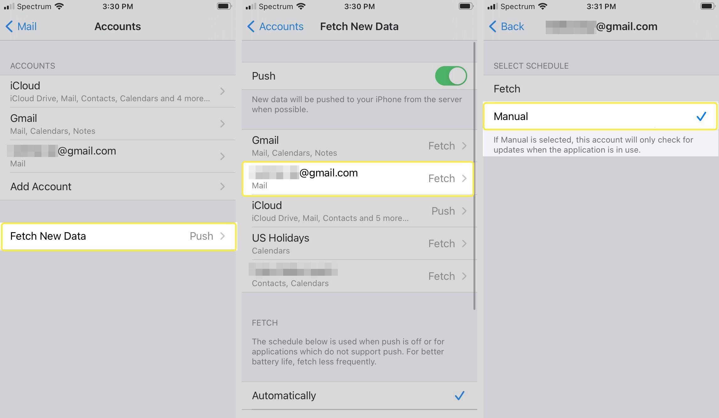 Passwords & Accounts, Fetch New Data, Manually buttons in iOS Settings