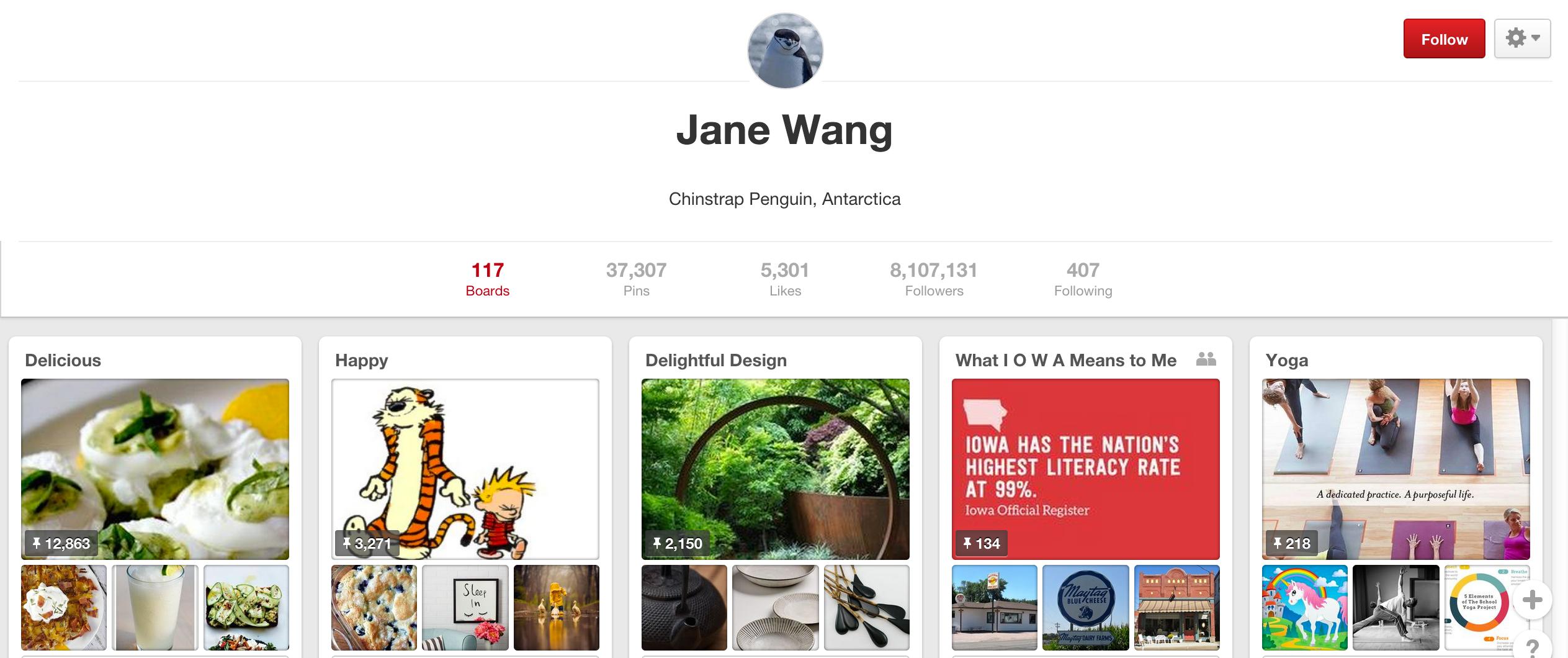 Jane Wang Pinterest board