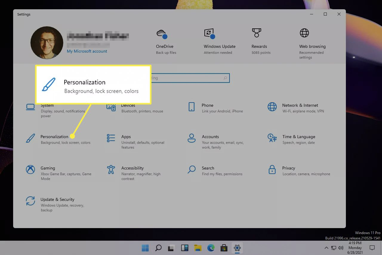 Personalization highlighted from Windows 11 settings
