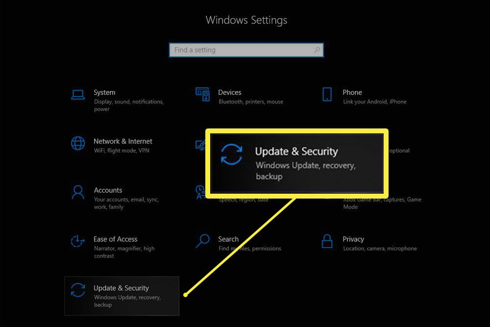 Windows Settings screen on Windows 10 with the Update & Security section highlighted.