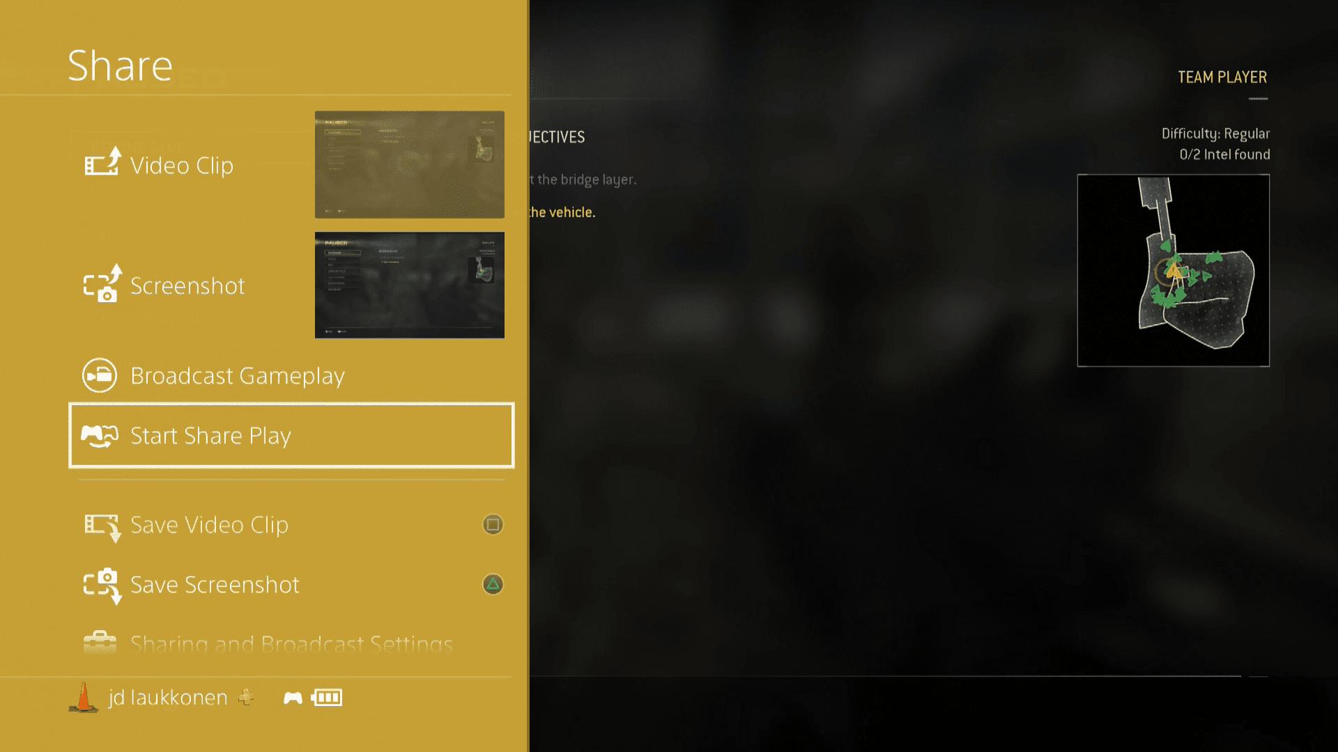 A screenshot of the PS4 Share menu.