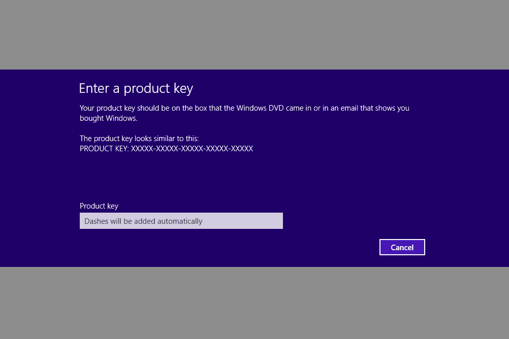 Screenshot of the Enter a product key screen in Windows 8