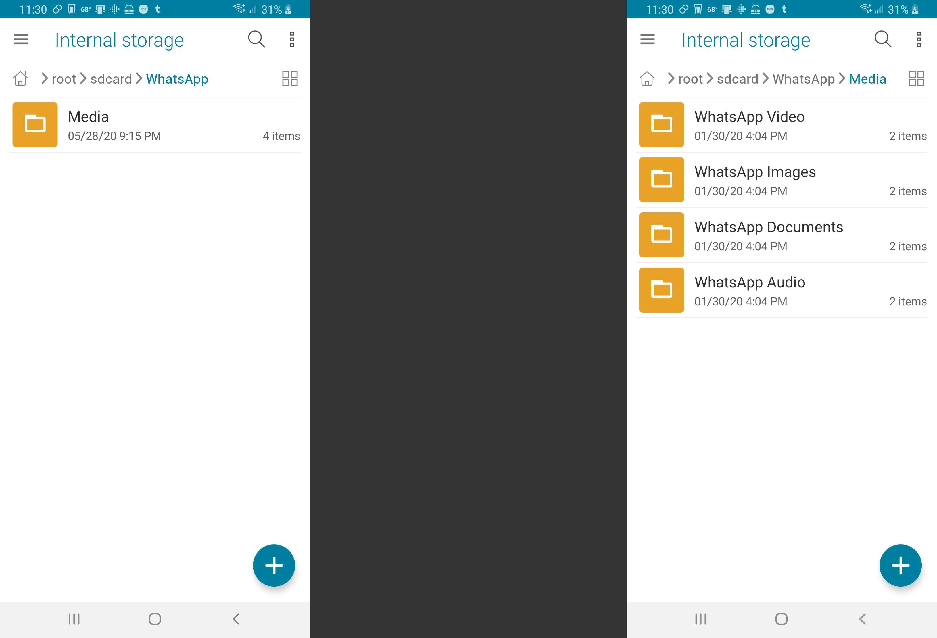 A screenshot of Whatsapp's media folders.