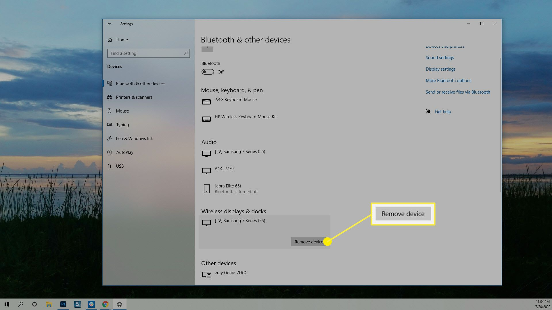 The Remove Device option in the Devices menu on Windows 10.