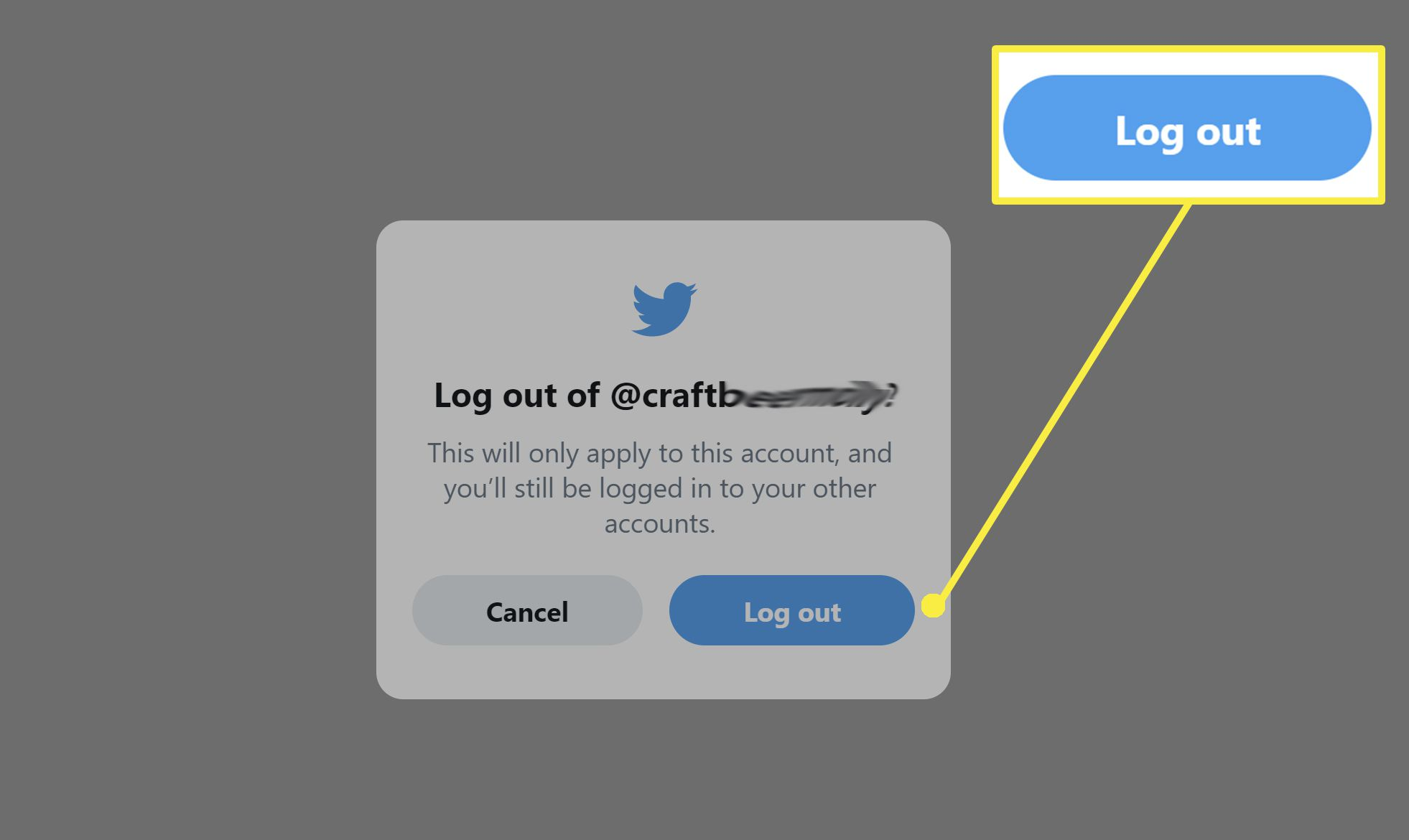 Logging out of Twitter on desktop.