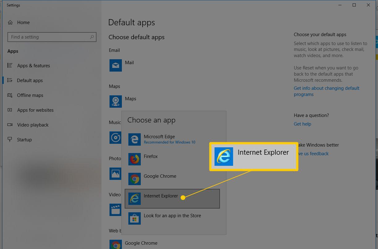Internet Explorer in Default apps window