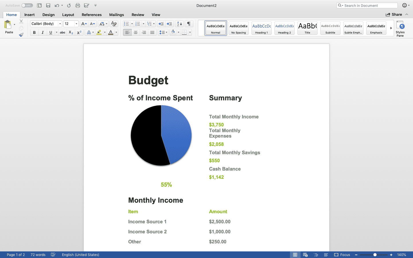 Excel spreadsheet converted into Microsoft Word