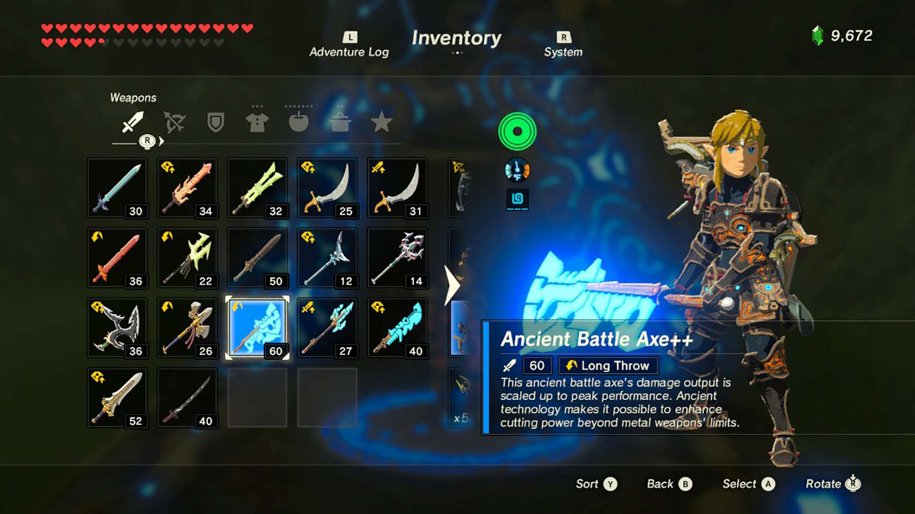 Screenshot of the Breath of the Wild inventor showing an ancient sword