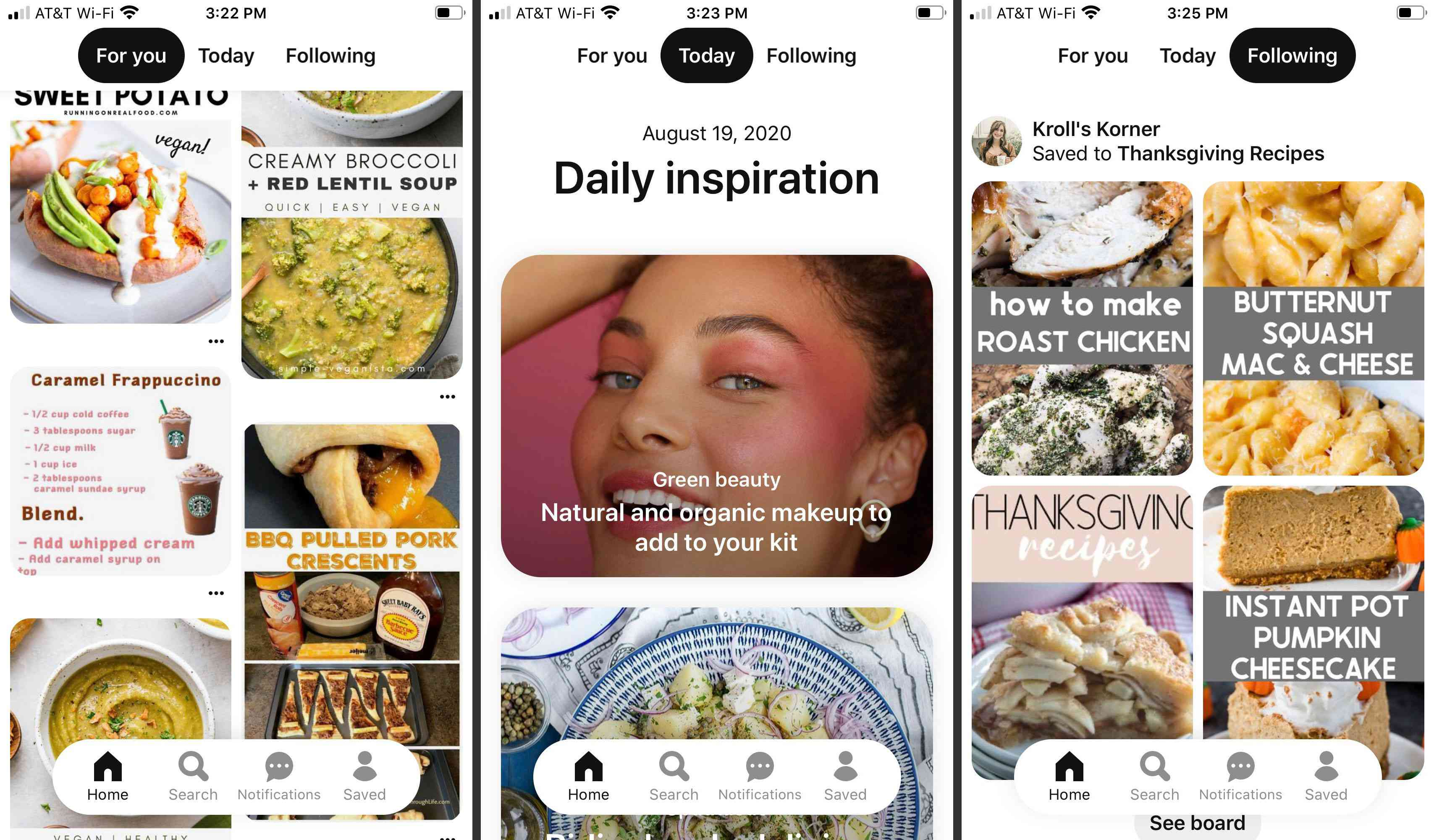 For You, Today, and Following tabs in Pinterest for iOS
