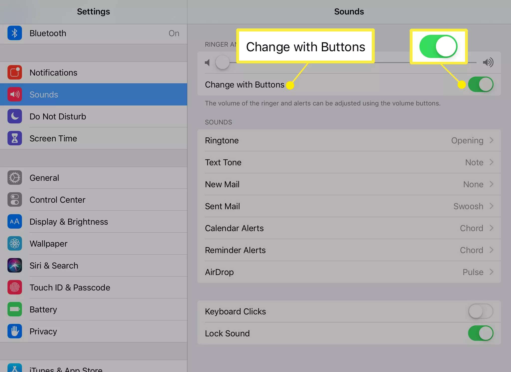Settings for alert sounds on iPad
