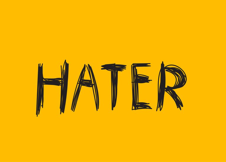 "An image of the word ""Hater"" scribbled in pen."