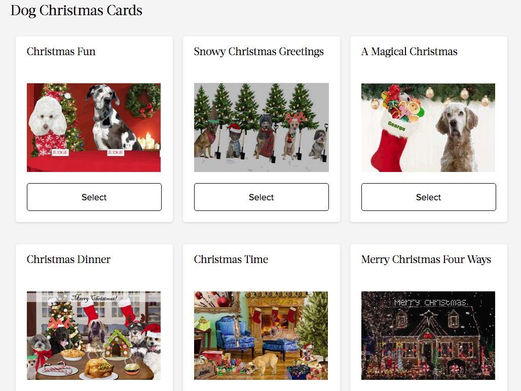 Screenshot of Sloppy Kisses dog-themed electronic Christmas cards